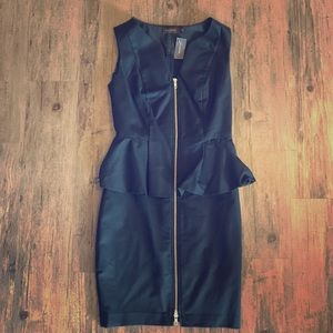 Black Peplum Midi Cocktail Dress